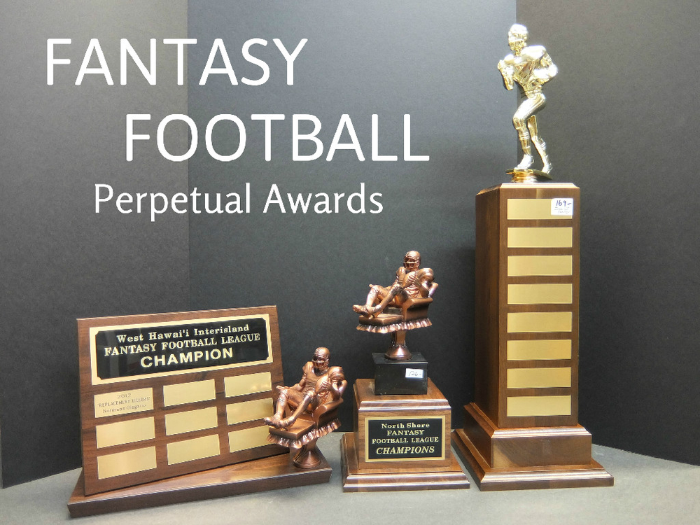FANTASY FOOTBALL PERPETUAL - 98.00, FANTASY FOOTBALL RESIN - 126.00, FANTASY FOOTBALL PERPETUAL TOWER - 169.00 First plate is included on all perpetuals