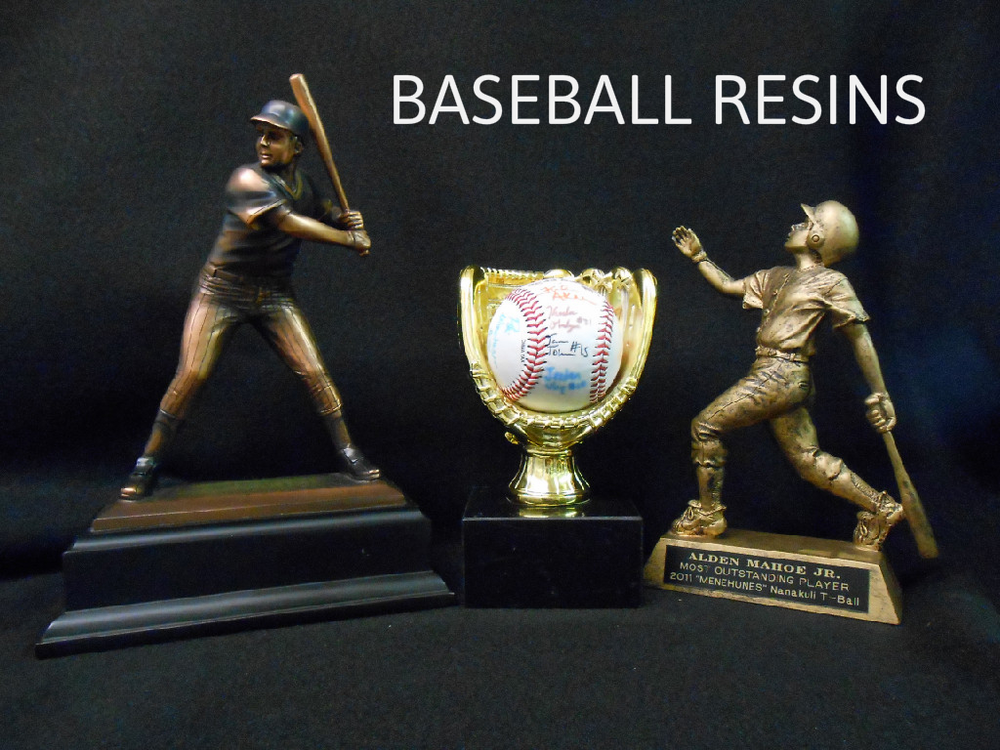 BASEBALL RESIN 1 - 46.00, GOLD BASEBALL HOLDER - 47.00, BASEBALL RESIN 2 - 27.00