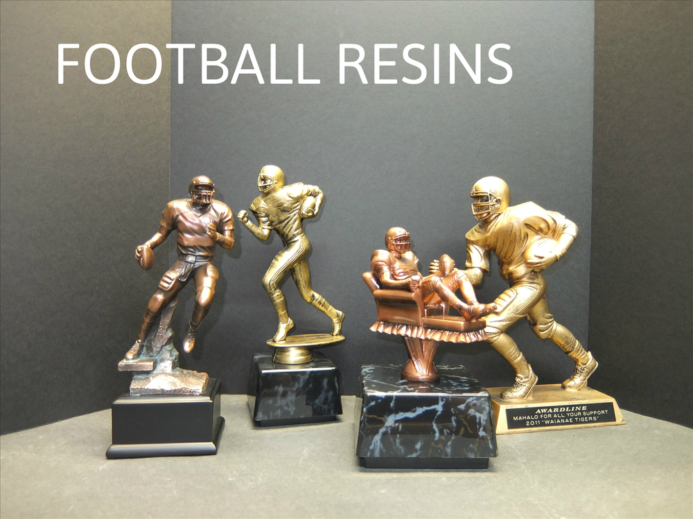 FOOTBALL RESIN 1 - 32.00, FOOTBALL RESIN 2 - 34.00, FANTASY FOOTBALL RESIN - 49.00, FOOTBALL RESIN 3 - 46.00