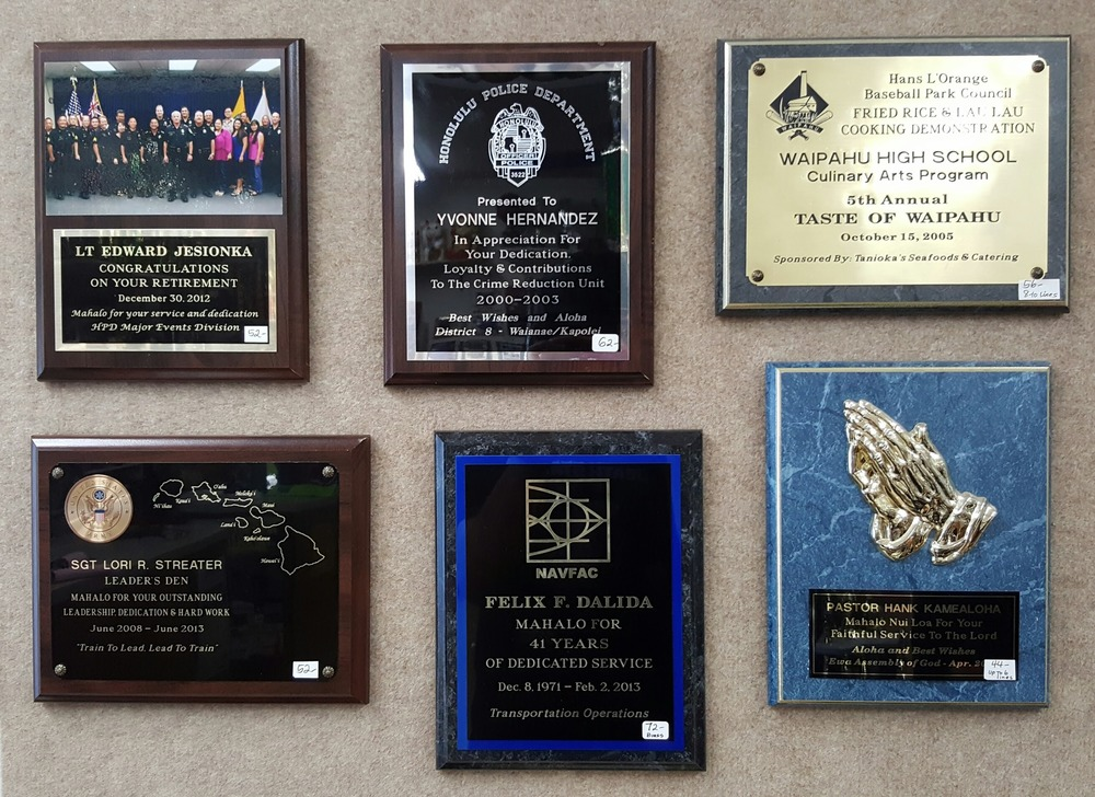 8x10 Plaque Samples  52.00, 62.00, 56.00, 52.00, 72.00, 44.00