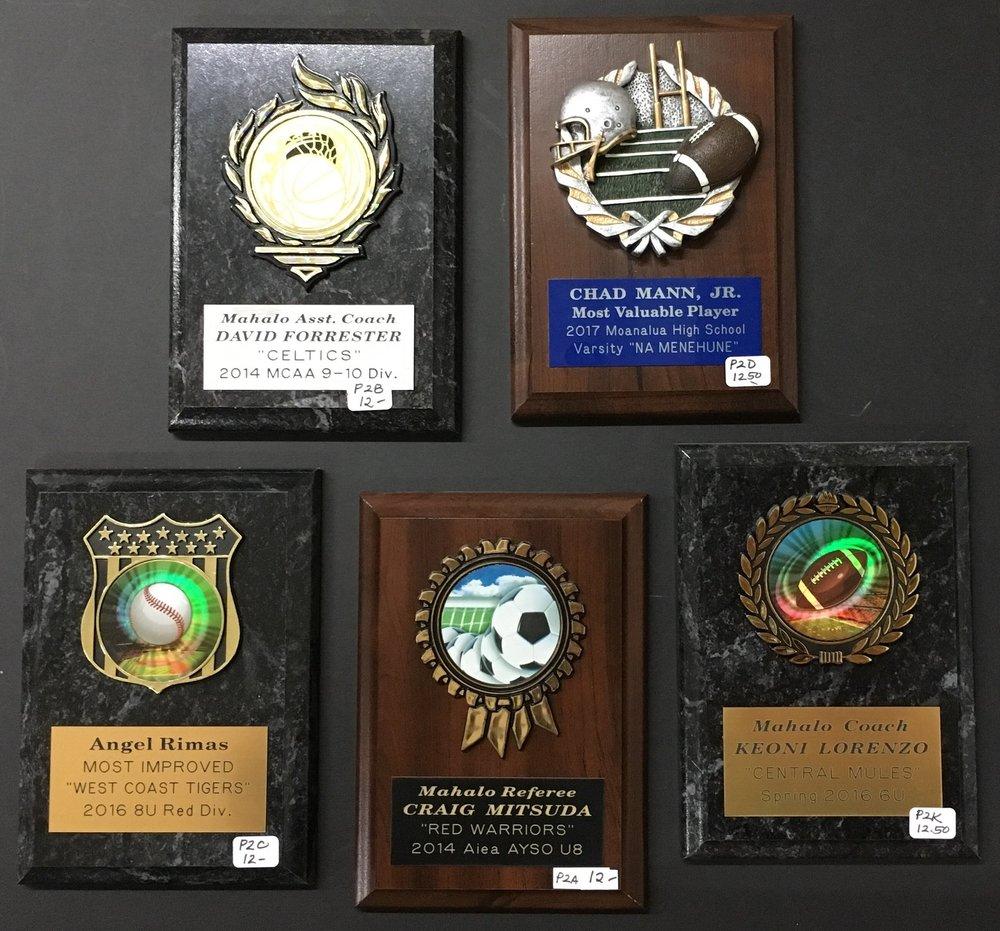 5x7 Plaques   P2B  - 12.00,  P2D  - 12.50,  P2C  - 12.00,  P2A  - 12.00,  P2K  - 12.50