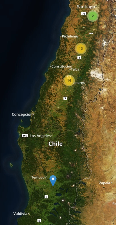 Lugares donde se han realizado vuelos en Chile