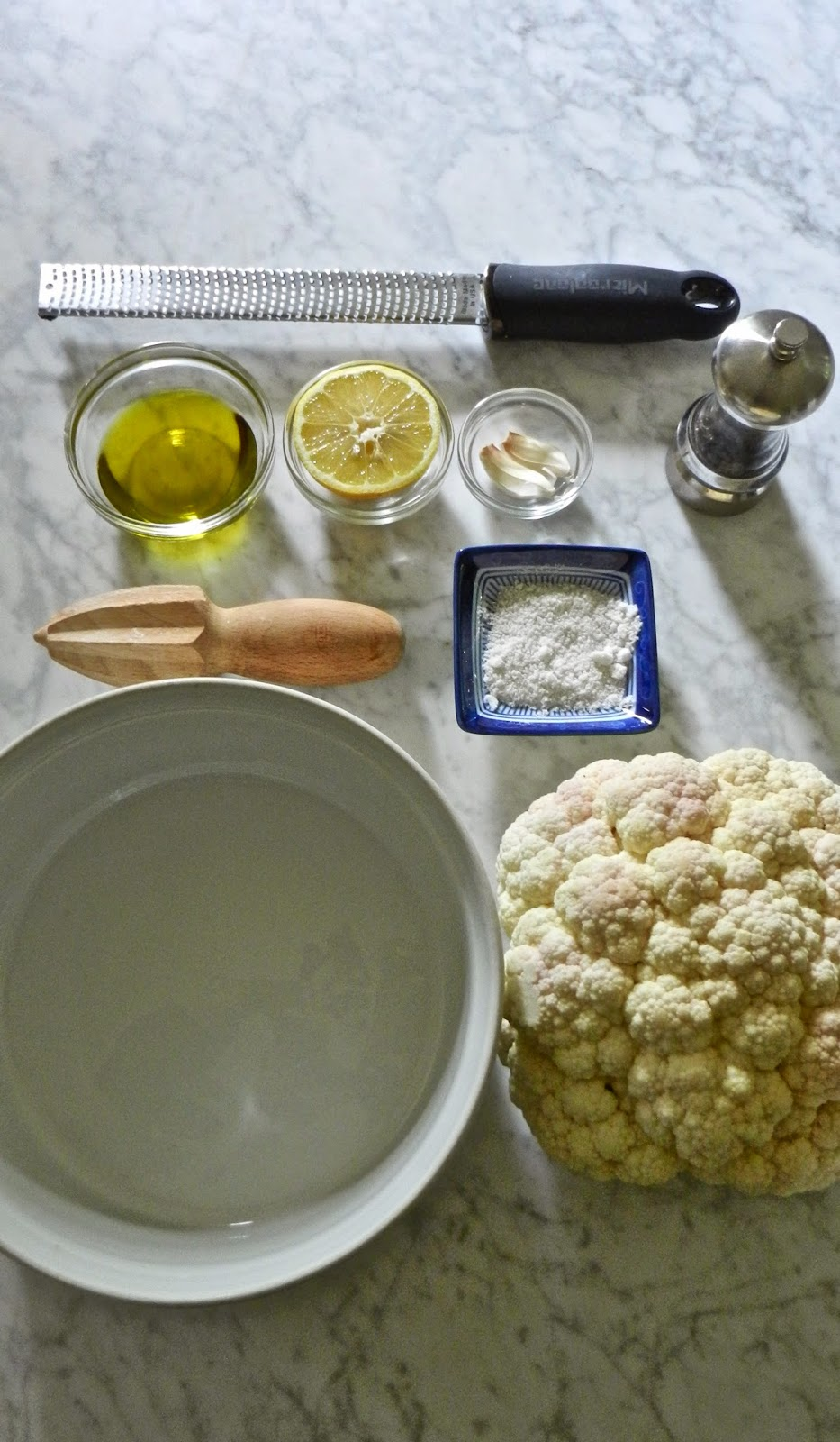 Mise En Place for Cauliflower with Chimmichurri