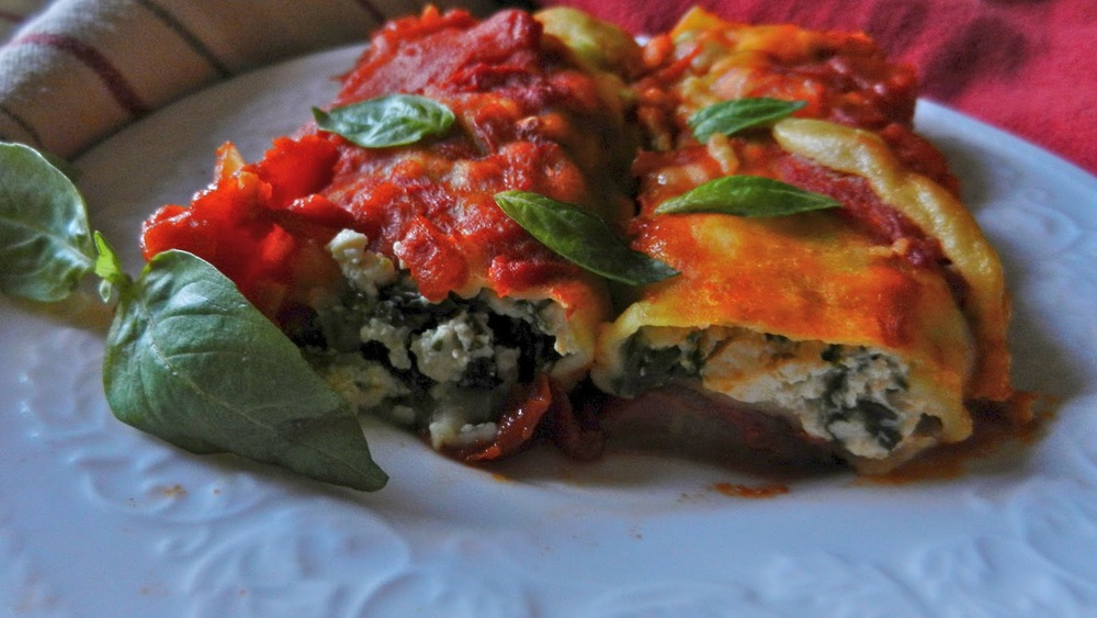 Tofu Manicotti with Marinara & Home-Made Pasta