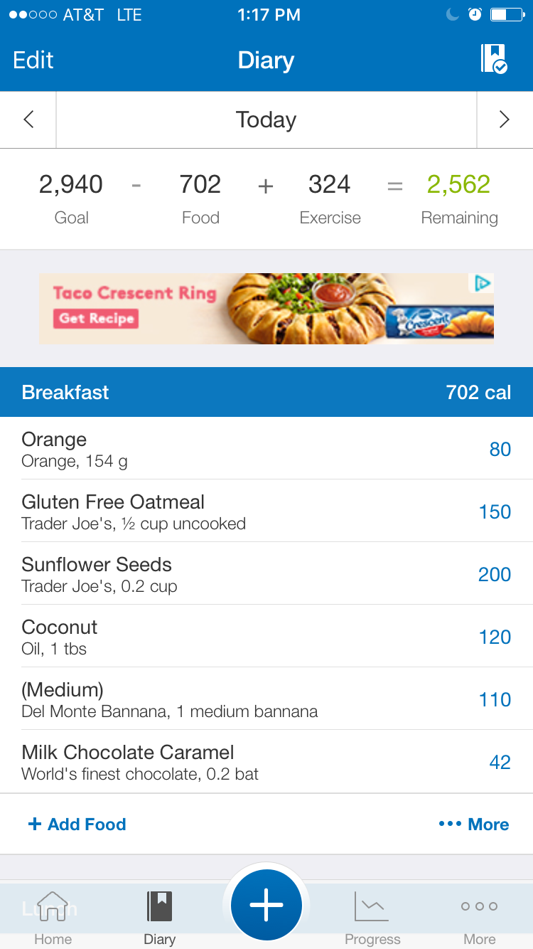 MyFitnessPal How I track my meals, they have the brands and quantities of many foods to get us pretty close to our food intake, this app is connected to my Strava account so it shows my morning bike ride and takes that energy expenditure into account for the estimate of my recommended caloric intake to maintain my weight, pretty great when apps talk to each other.
