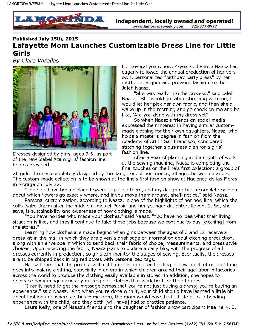 Lamorinda Weekly Article July 2015