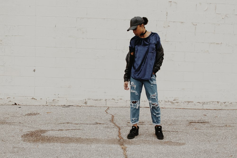 Hat - NVD | Jacket - thrifted | Shirt - NVD Original | Jeans - Distressed by me | Shoes - Custom NVD Timberlands