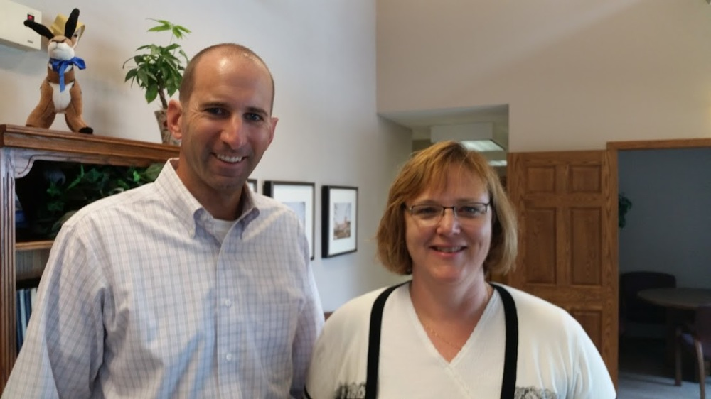 Lucas Dart, VP for alumni relations and development at UNK, and yours truly at the foundation office.
