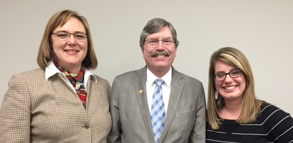 Dean Jim McKusick flanked by yours truly and Breana Bolger, Honors College academic advisor and recruiter