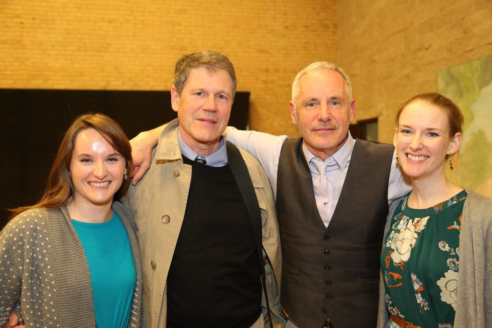Photo from the first piano reading in May 2016 at Minnesota Opera; from left to right: Siena Forest, conductor David Agler, librettist Mark Campbell, soprano Jeni Houser. Photo by Theresa Nelson Murray