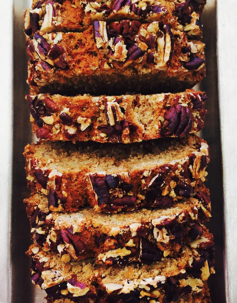 Pecan crusted banana bread