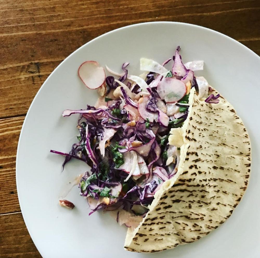 Pita slaw sandwich