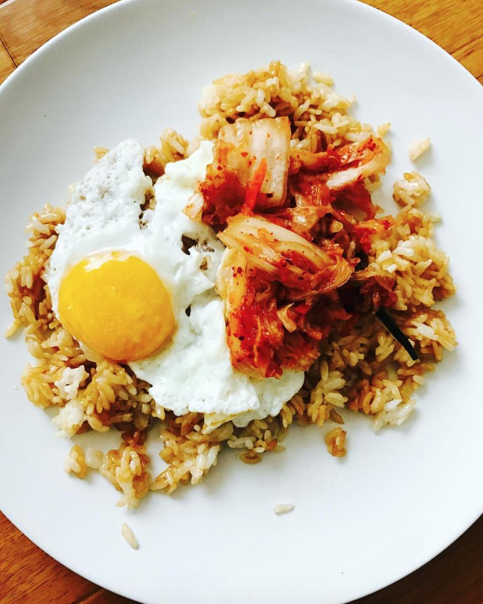 Rice, kimchi, egg