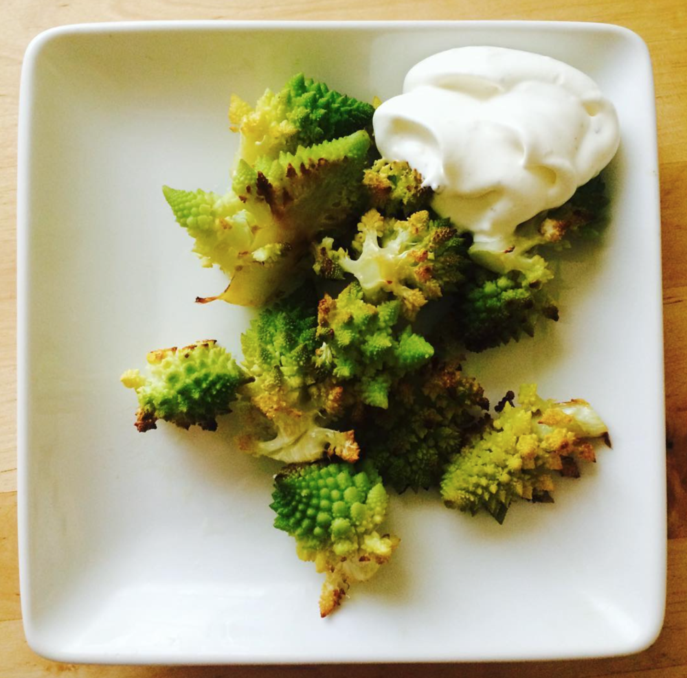 Roasted romanesco with savory salt & pepper whipped cream
