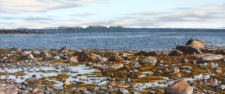"Ebbing Tide - Rockland, Maine Oil on linen 12"" x 28"""