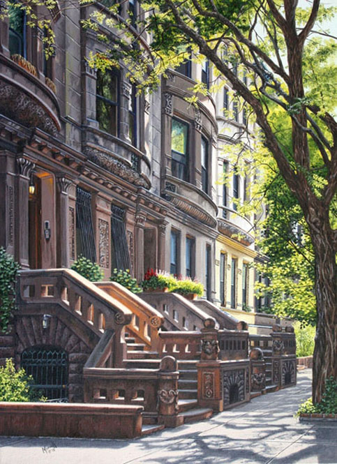 "Morning on West 87th Street  -  Oil on linen 22"" x 16"""