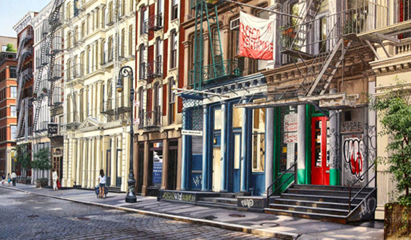 "Greene Street - Oil on linen 24"" x 40"""