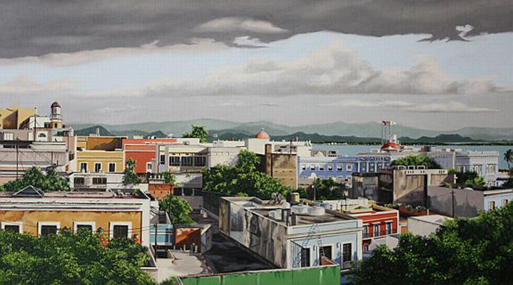 "Rooftops of Old San Juan   -  Oil on linen 20"" x 36"""