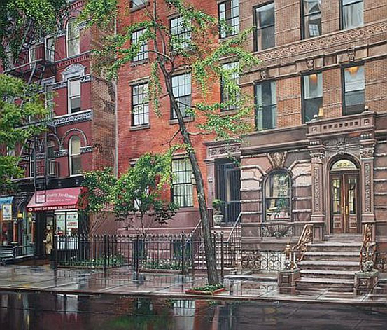 "Spring rain on East 7th Street - Oil on Linen 34"" x 40"""