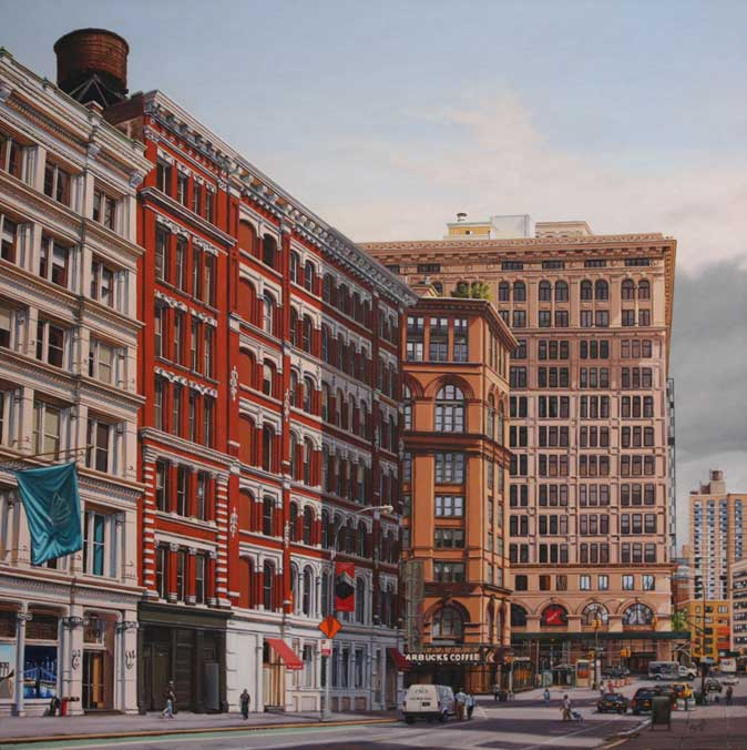 "Lafayette and Astor Place  - Oil on linen 32"" x 32"""