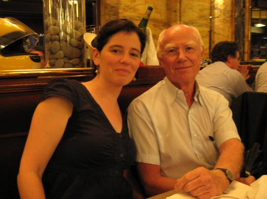 Louise with Denys (last name removed for privacy reasons), descendant of Auguste Franchomme, relaxing at dinner after a tour of Parisian sites connected to his ancestor. Denys' French translation of the liner notes for The Franchomme Project album will be included in the CD booklet.