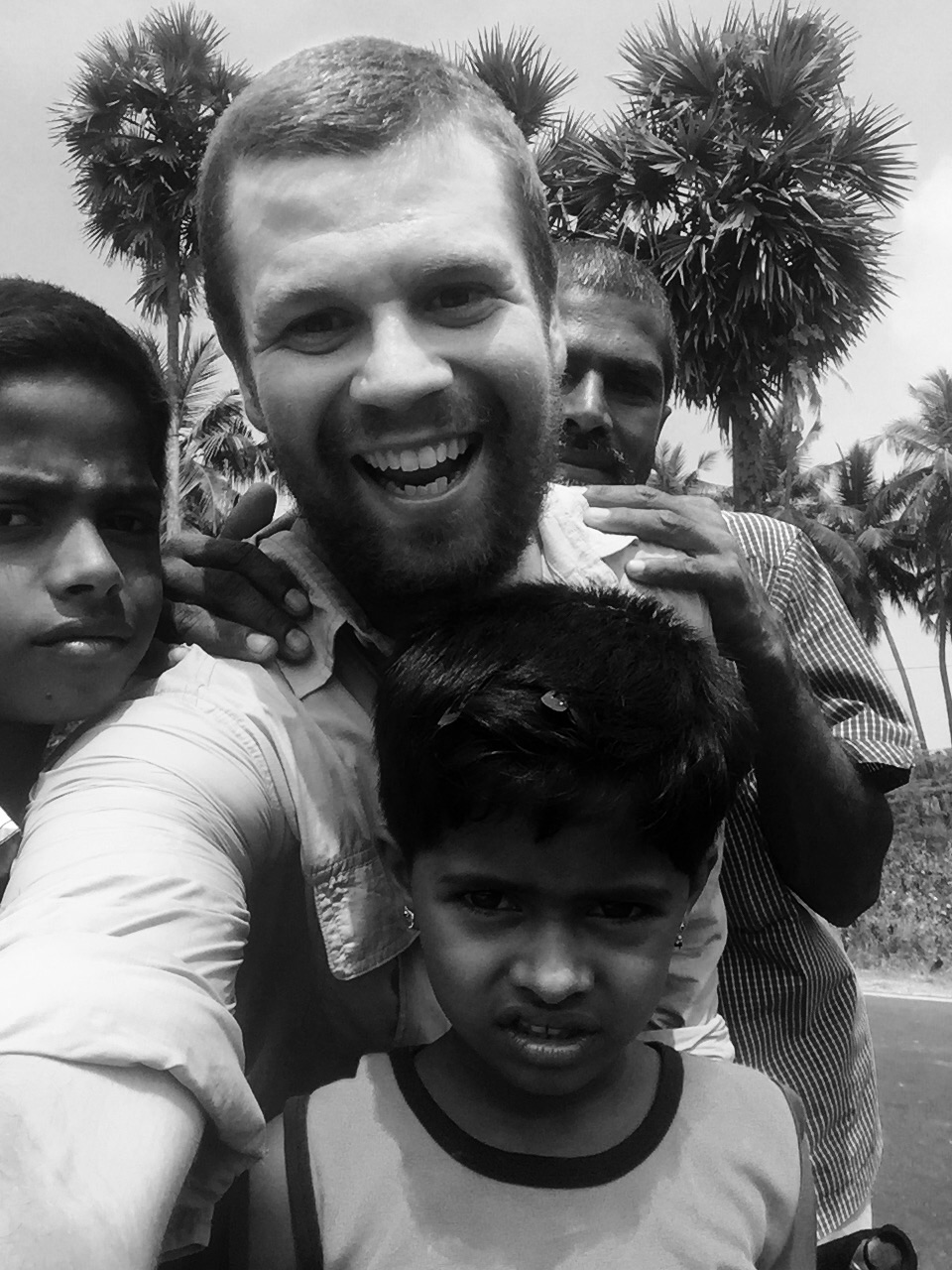 Saw me on the road and picked up his children to come back and meet me. I've never seen someone so happy. A humbling experience.