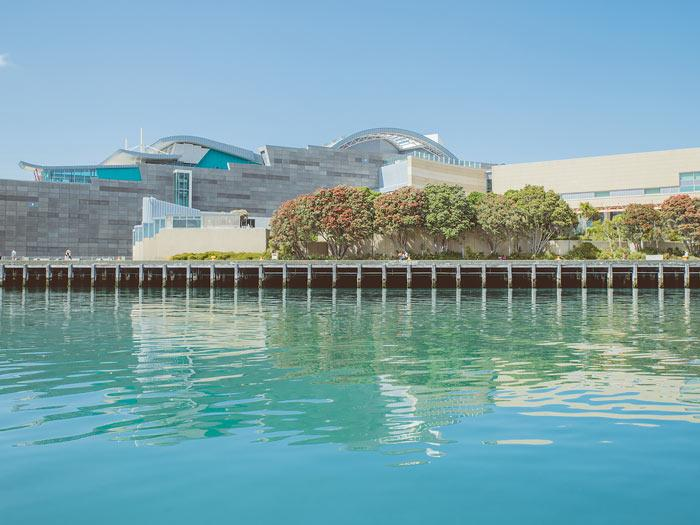 Transportation Group 19 - Te Papa from the water.Photography by Amanda Rogers, ©Te Papa