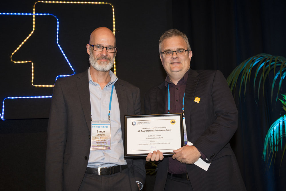AA Award for Best Conference Paper   Understanding vulnerable road user crash risk   Dr Shane Turner, Transport Consultant