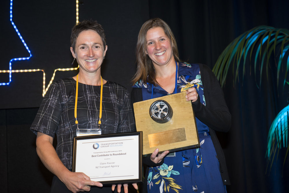 "Best Contributor to Roundabout   For her story ""Getting confused at a higher level"" in the September edition.   Claire Pascoe, NZ Transport Agency"