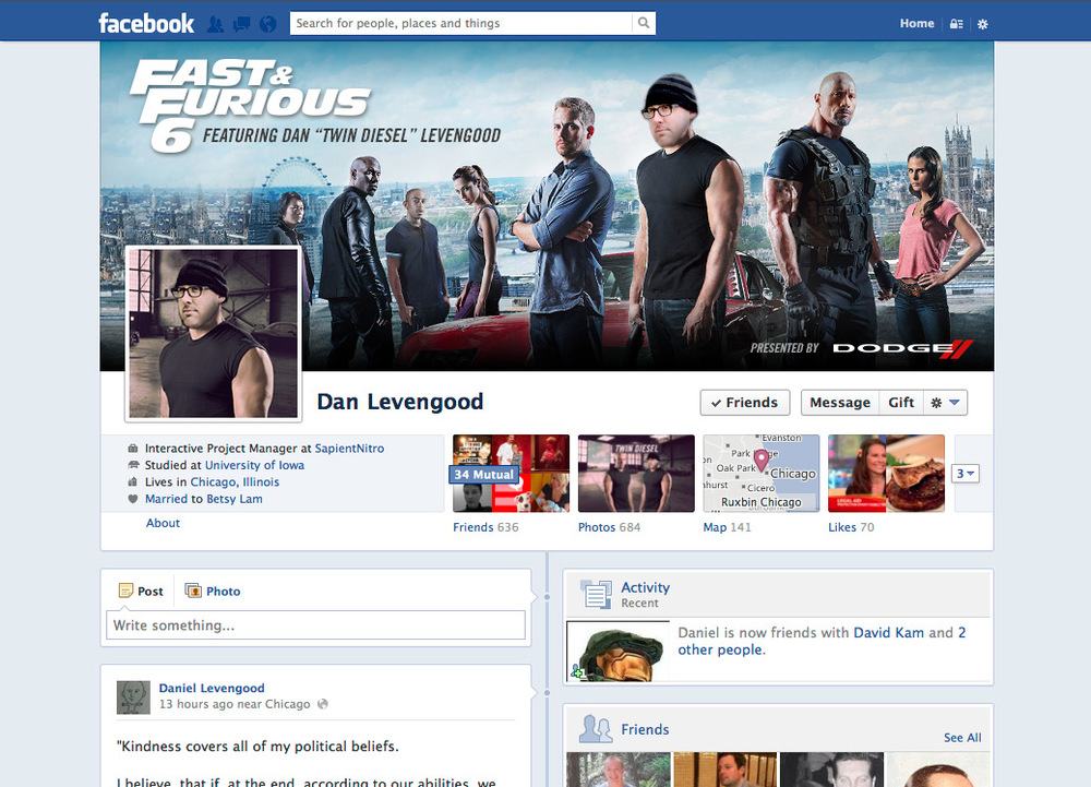 Join the Fast 6 cast on Facebook and save as your cover photo and profile pic.