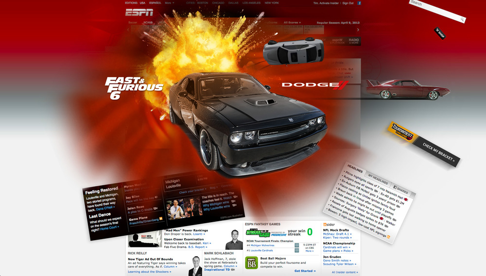 The action comes to life as the vehicles rip through the page amidst explosions in a fast & furious page takeover.