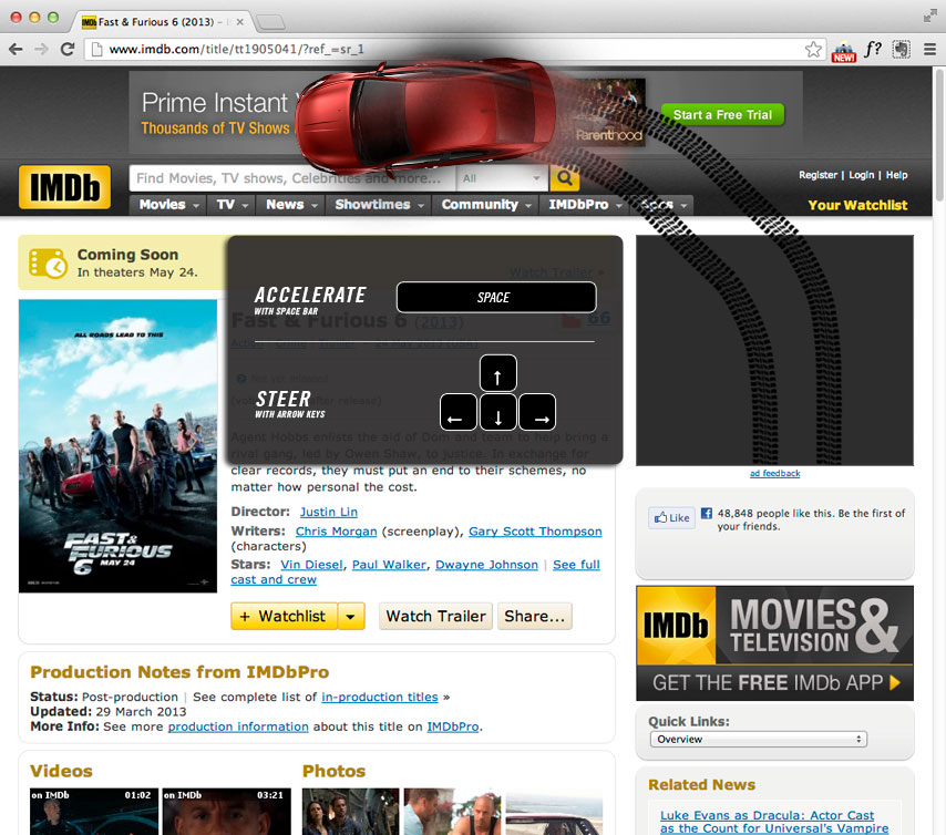 An even more fast & furious page takeover allows you to get behind the wheel as you rip through the web.