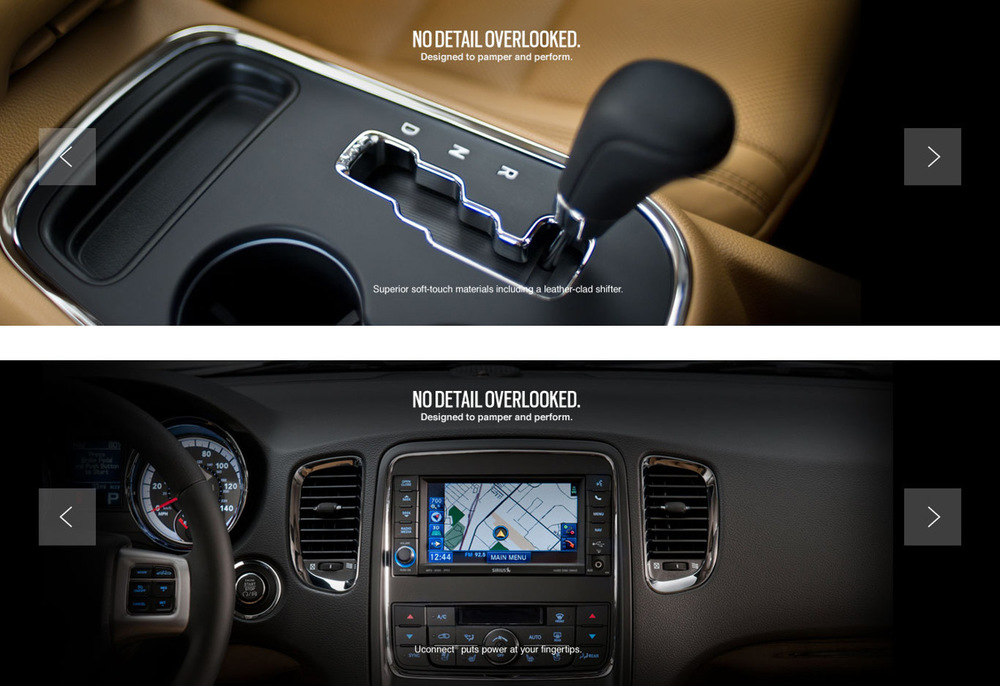 Full bleed imagery gives the user a feel for the vehicle's interior.
