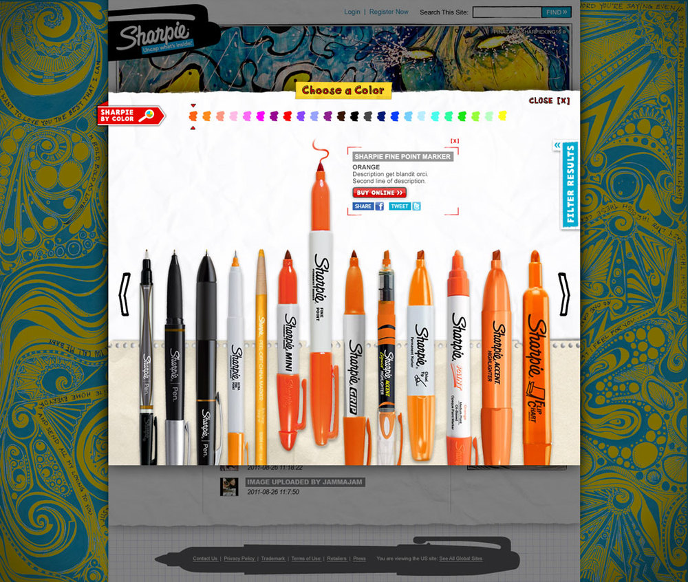 A new global feature where users can search for and purchase any sharpie product in any color