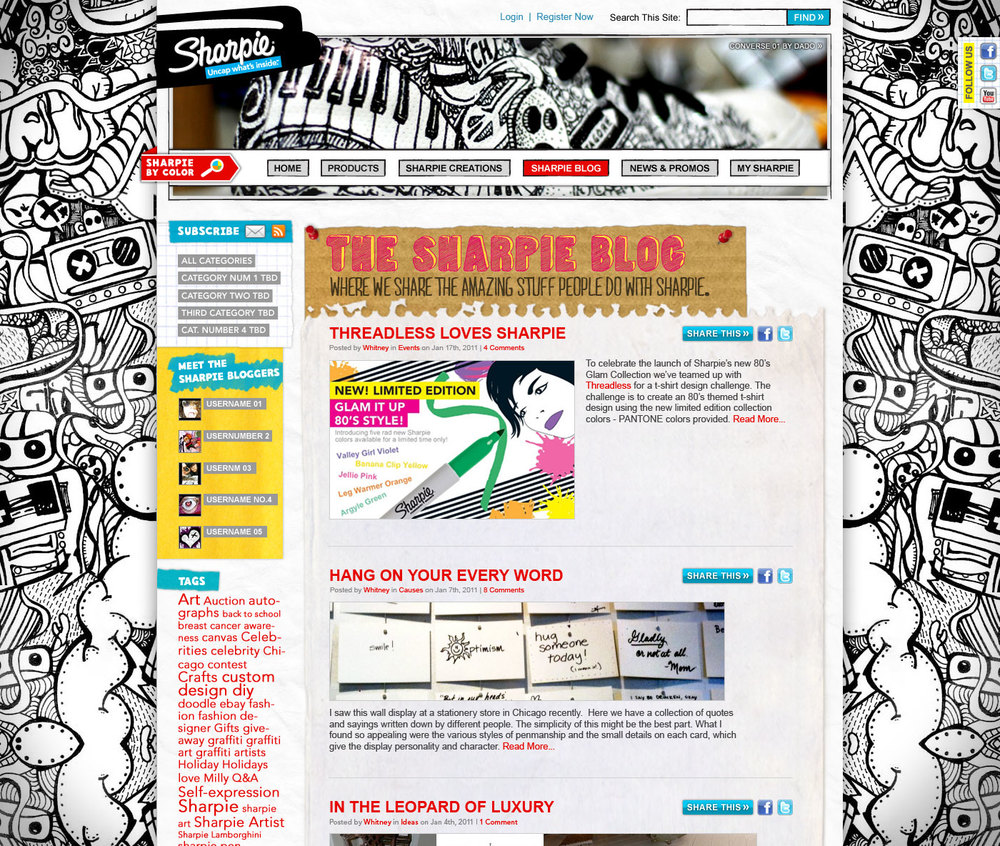 Wrapping the Sharpie blog into sharpie.com gives users a seamless experience.