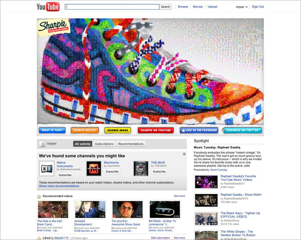 YouTube's homepage was YOURS for a day!
