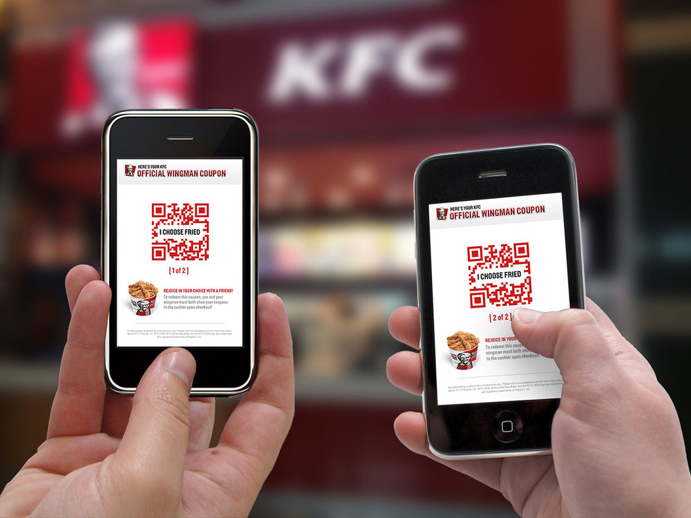 KFC sends you and your friend a Wingman Coupon—a coupon you can only use when you go to KFC together.