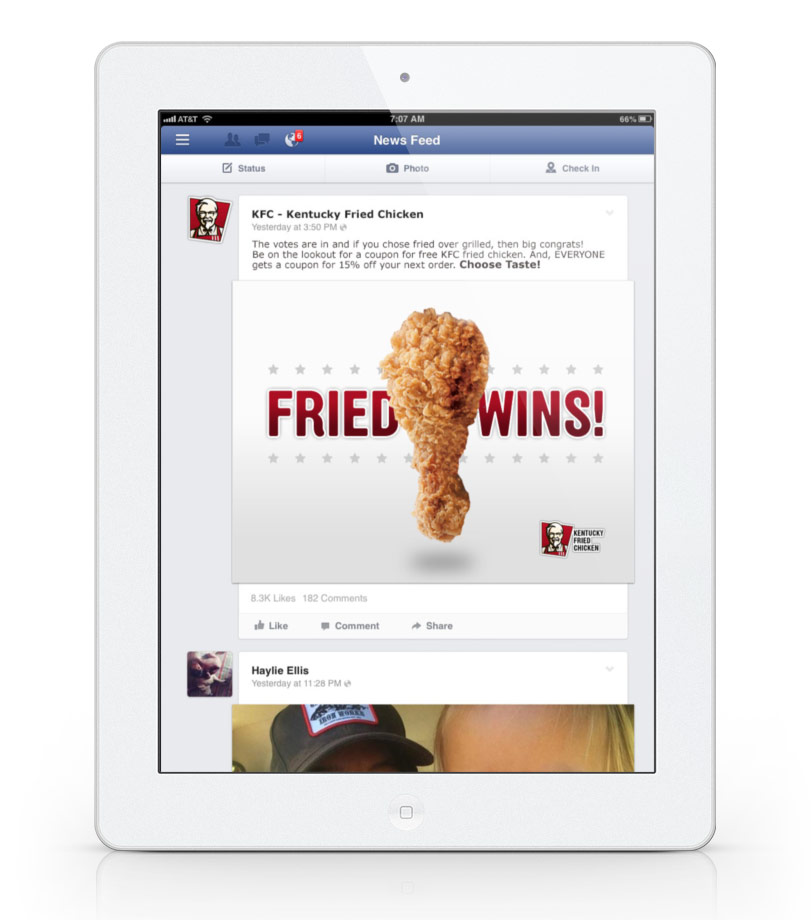 The big reveal on Facebook! In a way, eveyone wins (it's free KFC!)