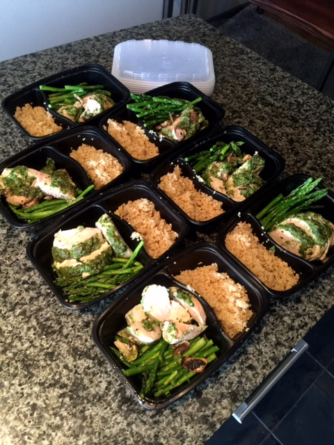 Prep Recipe Spinach Basil Chicken With Asparagus And Quinoa Meal