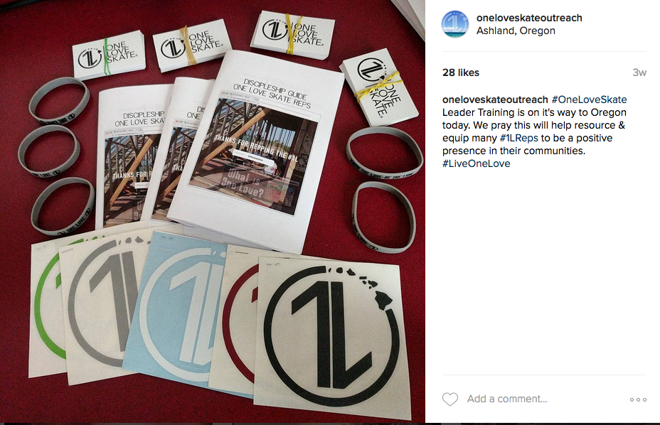 This is a picture from our instagram with some Discipleship Guides that we printed out. Ministries can also print out these guides themselves via the link on our Leader Training of OneLoveSkate.org.