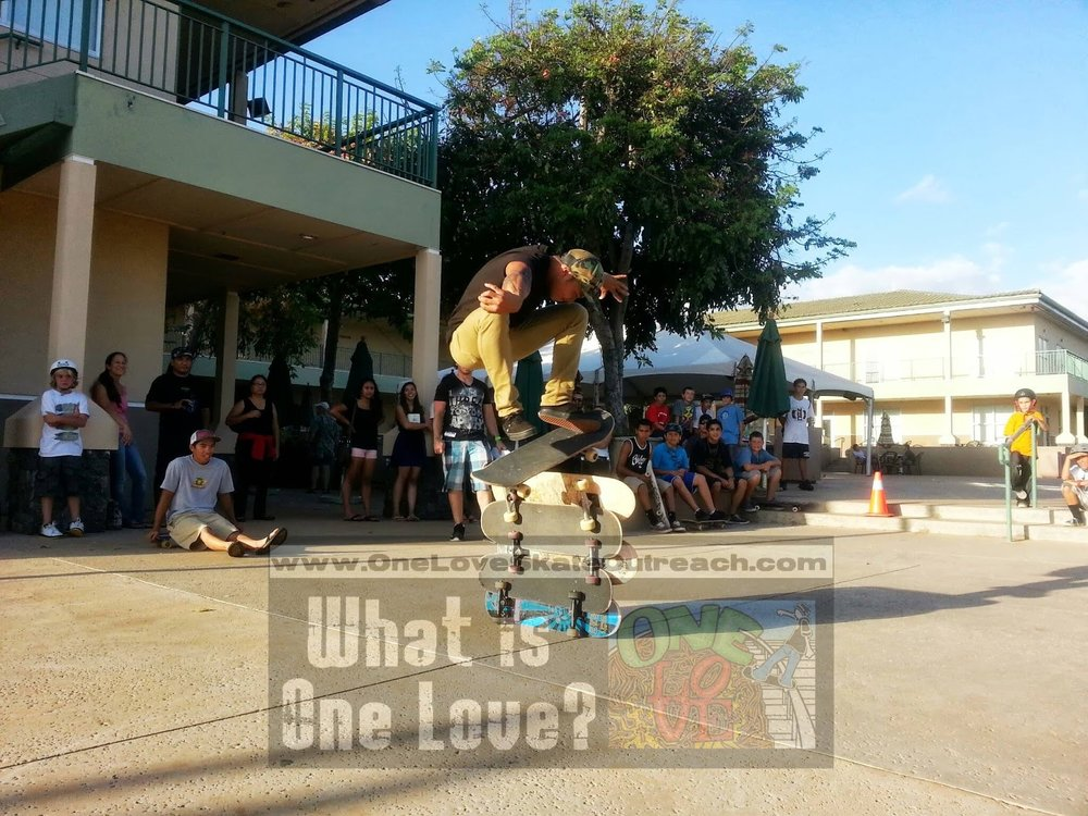 "Sam Peralta ollie at a #OneLoveSkate event w/Josh Knipple being a supportive ""butt head."" :) Full Story Here:  http://oneloveskateoutreach.blogspot.com/2013/06/one-love-skate-vertical.html"