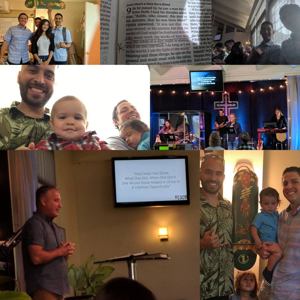 "We are stoked about the new sermon series ""Blood & Thunder"" at Waipuna from Pastor Shaun, and Joshua had the privilege of sitting by Pastor Jonavan Asato of Grace Bible and Pastor Randy Pauley of Kahului Baptist during two different services at Waipuna yesterday (2/18/18). What a great reminder that we are all #ShoulderToShoulder living the 1L of Jesus."