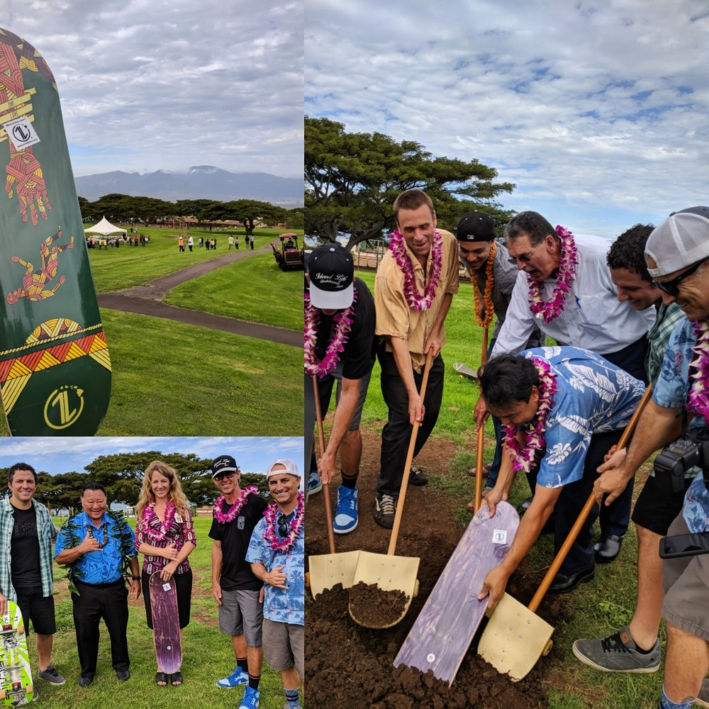 """#OneLoveSkate was able to be a part of this fun day of groundbreaking last week in Pukalani.  We gave Principal Amy of Pukalani Elementary a 1L Deck, and we let her know One Love Skate wants to help be a positive presence in the skate community.  To stay kosher with the Department of Education, we put a """"What is One Love?"""" sticker over """"1 John 4:9"""" on the 1L Deck, but we love the reminder that """"One Love is always there even when you can't see it."""""""