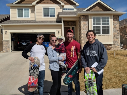 Sunday, we delivered some 1L supplies to the newest 1L Rep from Colorado, Stephen, & his wife Jen. Here's a picture with Auburn & Joshua during prayer/commissioning/game of skate (3/18/18).