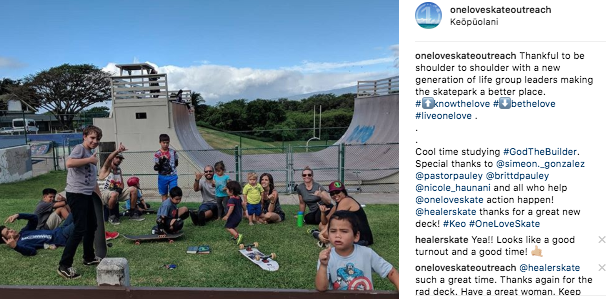 #OneLoveSkate Life Group in Kahului last Wednesday. Thankful to #LiveOneLove with friends around the world.