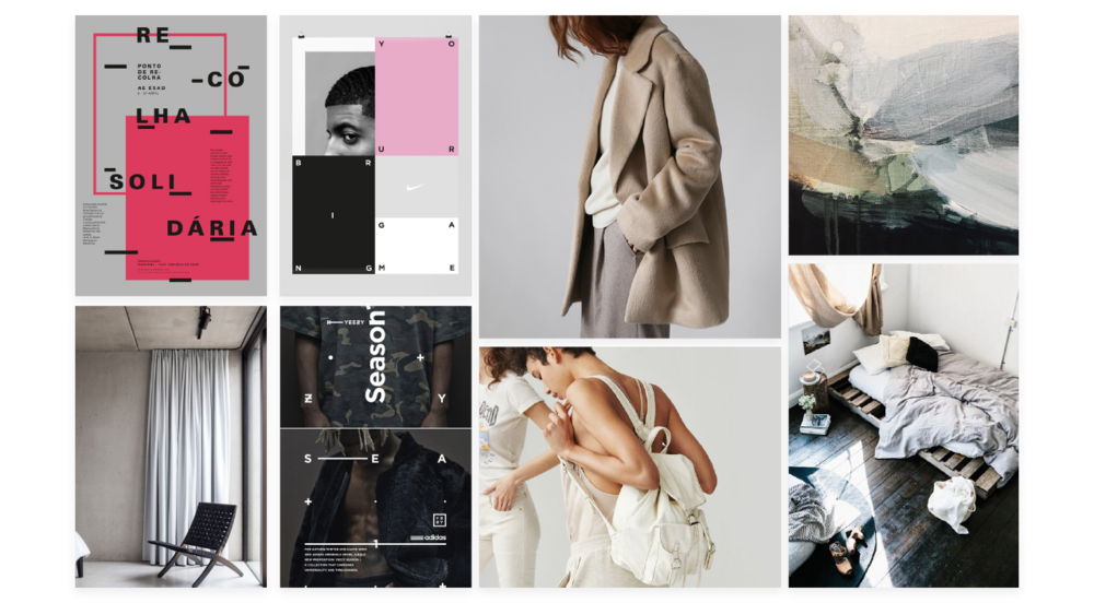Moodboard - I used a moodboard for aesthetics and style direction. The colour palette is neutral and the graphics are bold and contemporary.