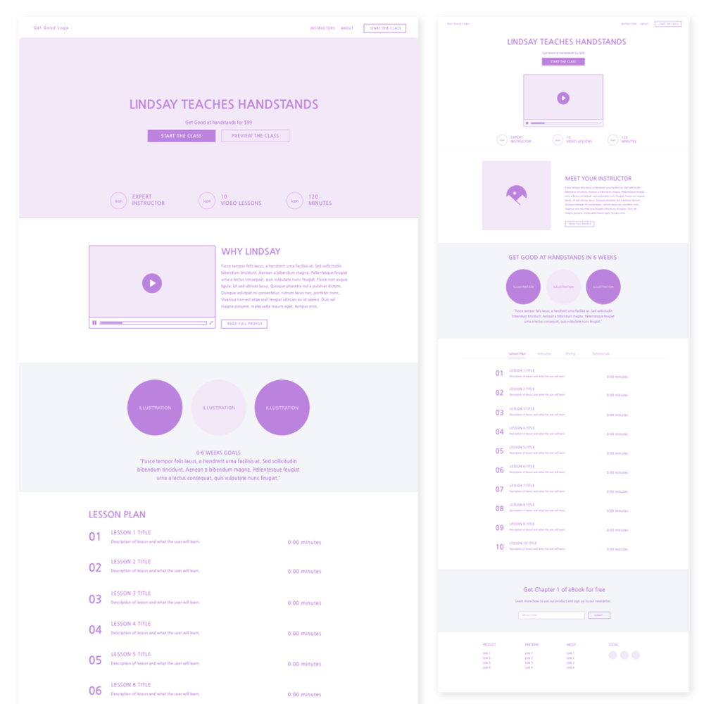 Above: Landing page wireframe. Left: Option 1, Right: Option 2.