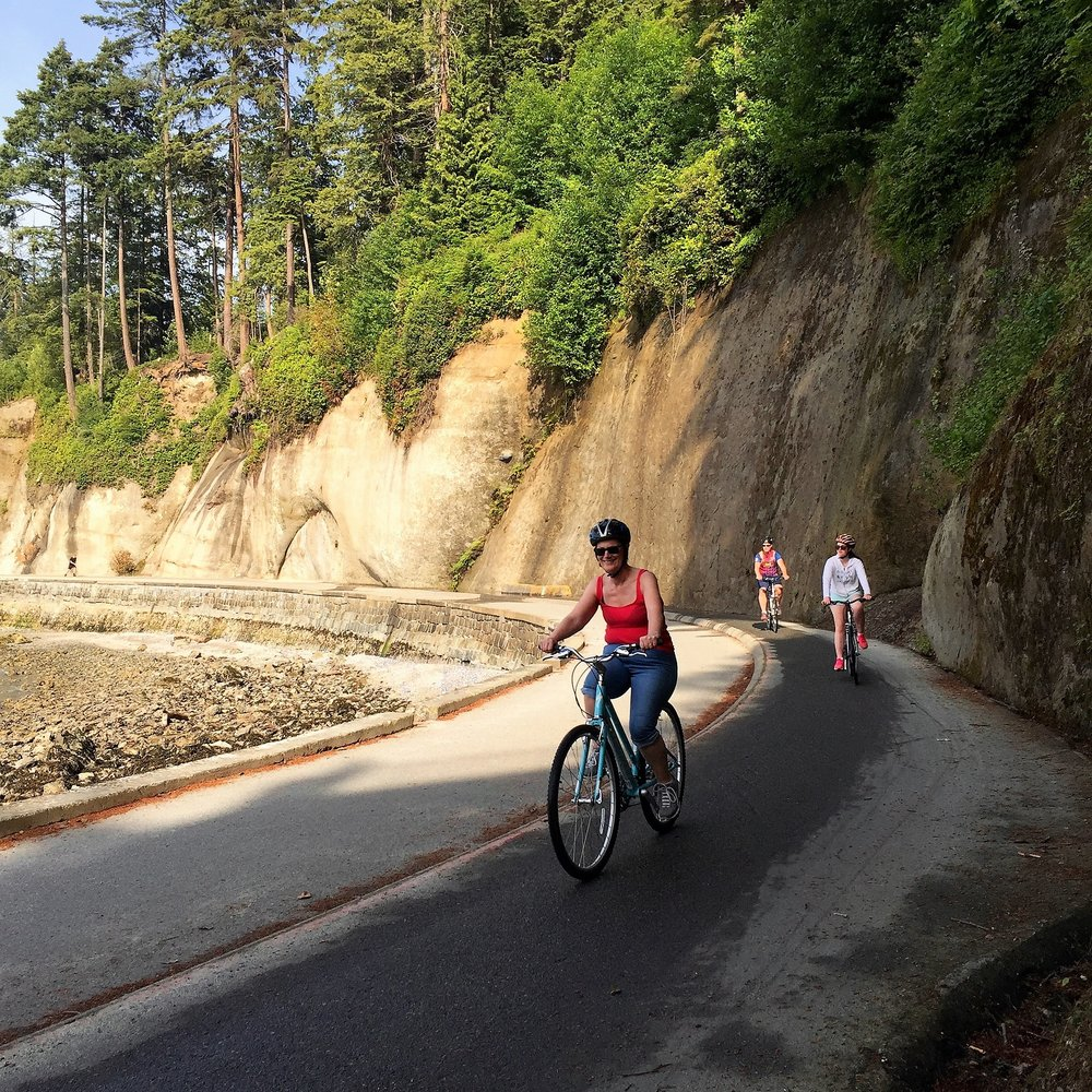 Cycling on the Sea Wall in Stanley Park Vancouver