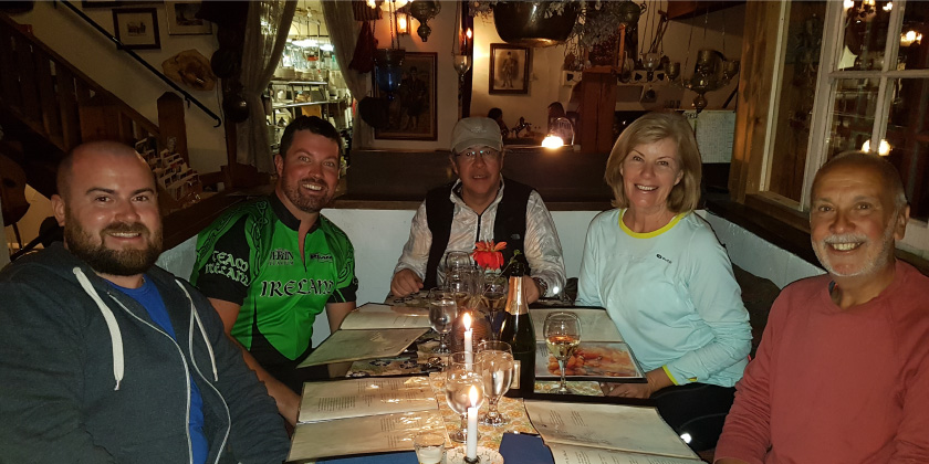 A fantastic end to the day at Theo's Restaurant after an exhilarating days riding.