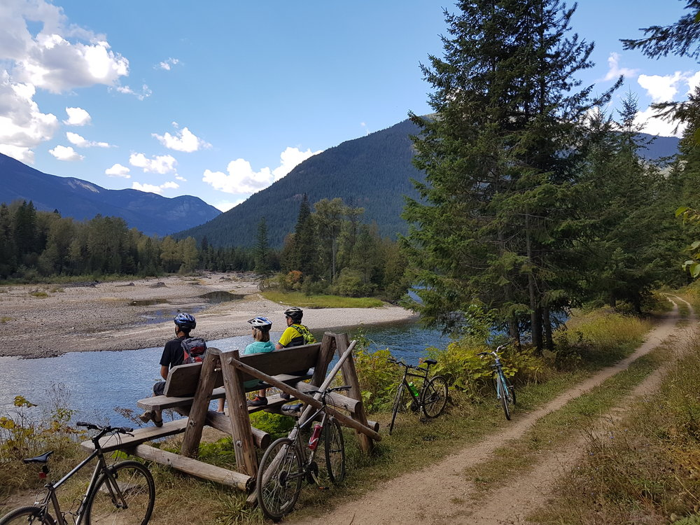 Rest stop during our multiday bike tour in BC